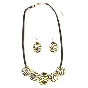 Zebra Necklace and Earrings Set